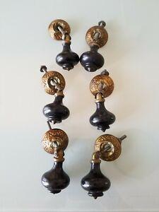 6 Black Wood Victorian Eastlake Teardrop Bureau Drawer Pulls Knobs
