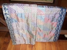Hand Sewn patchwork Silk Tie Quilt  Circa early 1900s  Great Condition