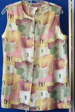 EUC Pretty TUNIC TOP by KATHY CHE Multi-Color SLEEVELESS Sz 12 WASHABLE Poly