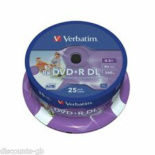 VERBATIM DVD+R DL DUAL LAYER STAMPABILI 25 Pack Spindle 8,5 GB / 240MIN 43667
