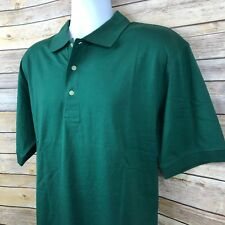 ORVIS Mens Polo Shirt Large Hunter Green Jersey Knit Lightweight Shortsleeved