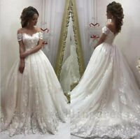 Lace Off Shoulder Ball Gown Wedding Dresses White/Ivory Long Tulle Bridal Gowns