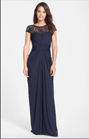 Adrianna Papell Short Sleeve Illusion Lace Gown 14P NWT Navy Ink Ruched Jersey