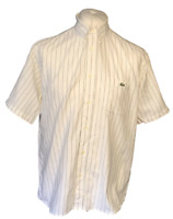Lacoste Men's Casual Shirt White Striped Size 42 Extra Large XL Cotton S/S Marks