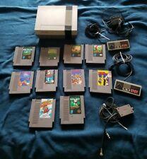 Nintendo Original NES Console System w/ 10 Games & 2 Controllers Super Mario 2 +