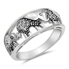 New Love Elephant Ring Lucky Sterling Silver .925 with Cubic-Zirconia Sizes 4-10