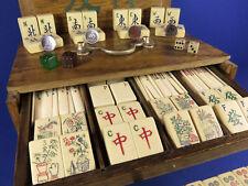 Vintage 1920's Ivory Pyralin Catalin Bakelite Mahjong Silver & Enamel Wind Discs