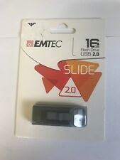 Emtec 16 GB USB Flash Drive in Black 2.0 Slide Windows & Mac Compatible N613