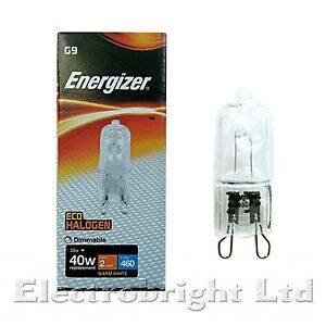 2x G9 33w=40w ENERGIZER OR EVEREADY DIMMABLE CLEAR ENERGY SAVING bulb Capsule