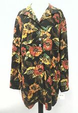 Dana Buchman Blouse Floral 100% Silk Long-Sleeve Light Regent Coat Blazer Sz 18