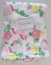 Baby Gear Girls Flower/Unicorn Print Lightweight Baby Blanket White/Pinks 30x36
