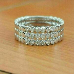 2.32 Ct VVS1 Diamond Three Row Eternity Engagement Wedding Band 14K White Gold