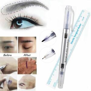 Microblading Tattoo Eyebrow Surgical Skin Marker Pen Ruler Tattoo Piercing 2 pcs