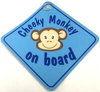 Cheeky Monkey On Board Blue Suction Cup Safety Fun Car Display Window Badge Sign