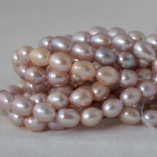 "15"" Natural Freshwater Pearl Beads Rice Purple 6-7mm B"