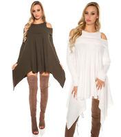 Maxi maglia donna spalle scoperte mini abito asimmetrico dress moda casual