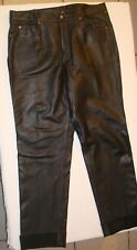 First Genuine Leather Motorcycle Pants Men's 40 x 33 Solid Black w/ Lining