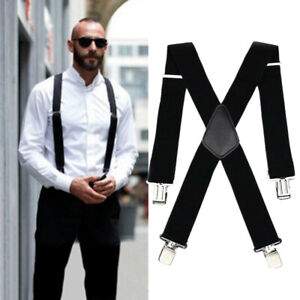 "Mens Heavy Duty Suspenders Adjustable Clip On Work Braces 2"" Wide Solid Color"
