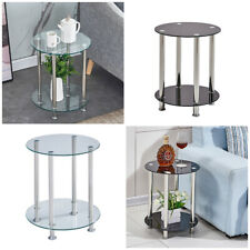Glass Round Side Table Sofa Bed 2 Tier Coffee Tea Table Living Room Black&Clear