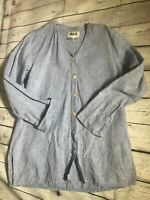 Flax Women's Long Sleeve Button-Up Shirt Light Blue 100% Linen M Petite
