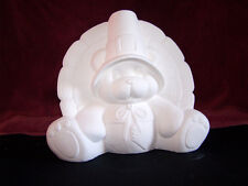 """Thanksgiving Bear w/Turkey Tail 9.5"""" Tall Ceramic Bisque  Ready to Paint"""