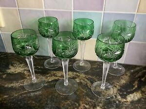 Bohemian/Czech Green Crystal Wine/Hock Glasses - 6