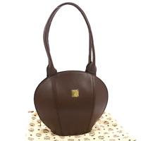 Authentic MCM Logos Shoulder Bag Purse Brown Leather Vintage Germany NR08577b
