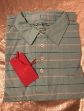 NWT  Southern Proper Men Polo Golf Green Stripe Shirt Pocket Size Medium