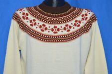 vintage 70s Sigallo Snowflake Pull Over Off White Acrylic Ski Sweater Medium M