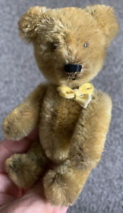 """Vintage SCHUCO Miniature TRICKY Yes No Mohair Jointed Bear 5"""" Germany Nice!"""