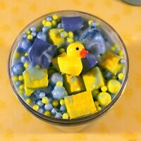 """Thick SLIME """"Bubble Bath"""" Blue Thicc Cereal Milk Foam Beads Charm Scented 4 6 8"""