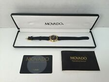 Movado Museum Watch 87-E4-0823 Gold Black Leather Band Ladies
