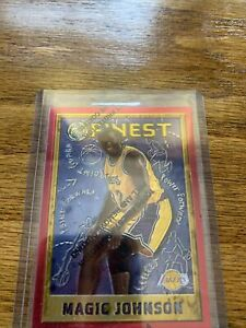 1995-1996 Topps Finest Magic Johnson Refractor With Coating! Rare Nice Card!