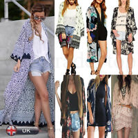 Sexy Women Kimono Cardigan Jacket Chiffon Long Loose Blouse Tops Beach Cover Up