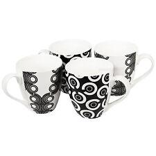 Set of 4 Large Black White Checkers Latte Coffee Tea Hot Chocolate Mugs Cups