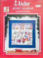 Anchor Counted Cross Stitch Advent Calendar 17908 Vintage 1990 Christmas Holiday