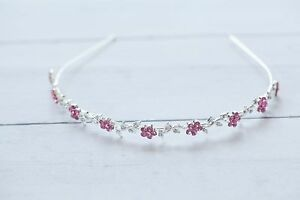Pink Flower Tiara- Photo Prop Crystal and Rhinestone 4153