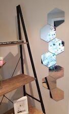 Set of 7 small hexagon hex shape glass mirror tiles 18cm x 20.5cm