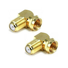 2pcs x New 90° Right Angle Gold Plated F RG6 RG59 Coaxial Coax Connector Adapter
