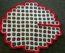 Vintage Handmade Crocheted Red White Green Christmas Tree Skirt 36""