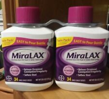 MiraLAX Twin Pack 2x34 Doses Powder Laxative *Read Details*