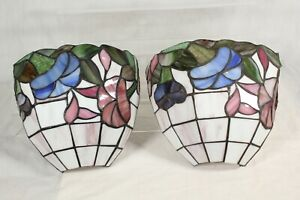 Vintage Tiffany Style Wall Light Shade Floral Bistro Sconce Uplighter Pair