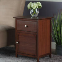 1-Drawer Nightstand Bed Side End Lamp Table Wooden Display Storage Cabinet Brown