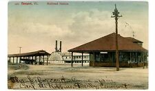 Newport Vermont VT - RAILROAD STATION & STEAMER LADY OF THE LAKE - Postcard