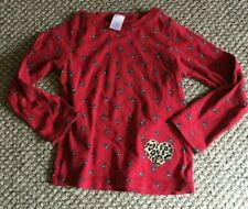 GIRLS TOPS GYMBOREE SIZE 7 SHIRT T-SHIRT LONG SLEEVE CLOTHES RED CLOTHES CATS