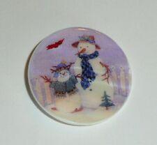 "Adorable Snowmen MOP Button on Mother of Pearl Shank Button 1-3/8"" Snowman"
