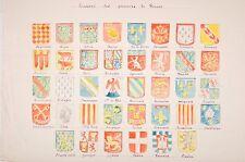 dessin aquarellé écussons des provinces de France, début XX°, blasons