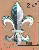 PH126# Fleur-De-Lis Inlay in Paua Abalone & White Mother of Pearl 1.5mm thicknes