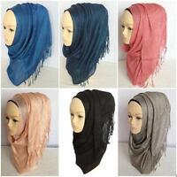 2016 Fashion Cotton Linen Tassel Muslim Long Scarf Hijab Womens Shawl Headwear