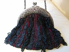 Antique Art Nouveau Silver T Floral Filigree Frame Red Knitted Black Bead Purse